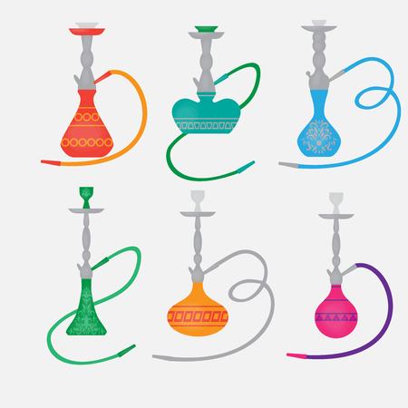 oriental: Hookah labels and smoke. Set of oriental nargile silhouettes. Isolated  traditional shishe on white background