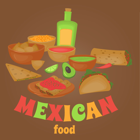 latino: Mexican traditional food set, traditional cusine of Mexico, latino fast food menu takos, burrito, restaurant meal