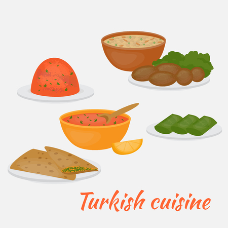 main dishes: Middle East Food. Common main and side dishes,  dolma, kisir, ezogilin, gozleme and kofte. Turkish lentil salad, cutlet, soup, bread and stuffed grape leaves. Traditional food of Turkish cuisine.