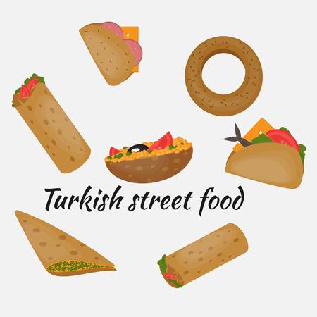 mediterranean food: Turkish Fast food, Traditional mediterranean street food, Turkish cuisine.