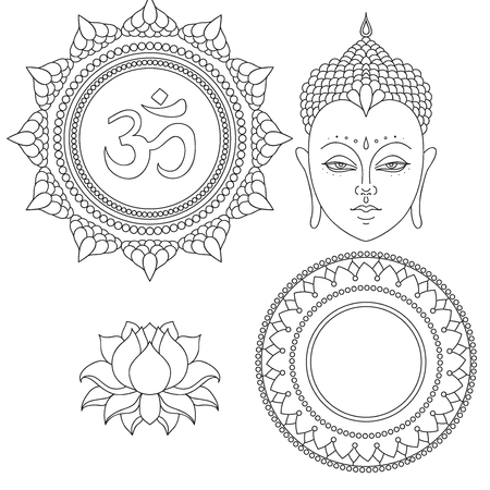 Head of Buddha. Om sign. Hand drawn lotus flower. Isolated icons of Mudra. Beautiful detailed, serene. Vintage decorative elements. Indian, Hindu motifs.