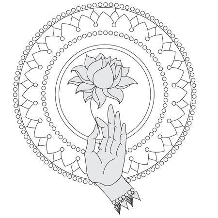 Elegant  hand drawn Buddha hand with flower. Isolated icons of Mudra. Beautifully detailed, serene. Vintage decorative elements. Indian, Hindu motifs