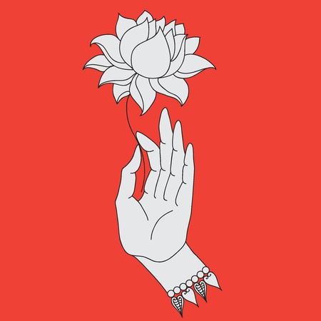 Elegant hand getekende hand van Boedha met bloem. Geïsoleerde iconen van Mudra. Prachtig gedetailleerd, sereen. Vintage decoratieve elementen. Indian, Hindu motieven Stock Illustratie