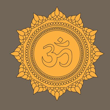 aura energy: Beautiful detailed mandala with om sign. Vintage decorative elements of Mudra. Indian, Hindu motifs. Tattoo, yoga, spirituality, textiles Illustration
