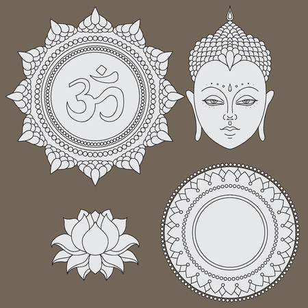 Head of Buddha. Om sign. Hand drawn lotus flower. Isolated icons of Mudra. Beautiful detailed, serene. Vintage decorative elements. Indian, Hindu motifs
