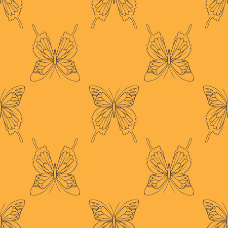 insecta: realistic background of colorful butterflies.  summer flying insects set for greeting cards and  scrapbook seamless pattern Illustration