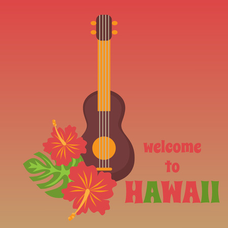 ukulele: Poster with tropical palm leaves and flowers hibiscus flower hawaii with tribal guitar ukulele, exotic summer flower background