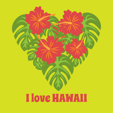luau party: Set of tropical palm leaves and flowers hibiscus flower hawaii in heart shape, exotic summer flower background, with phrase I love Hawaii background