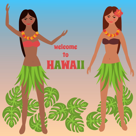 time off: Colorful poster with tropical rest, time off on Hawaii islands, vacation, weekend,  Aloha, Girl dancing hula, Luau party background Illustration
