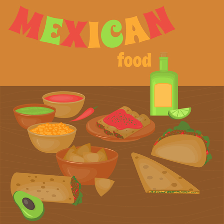 latinoamerica: Mexican traditional food set, traditional cusine of Mexico, latino fast food menu takos, burrito, restaurant meal