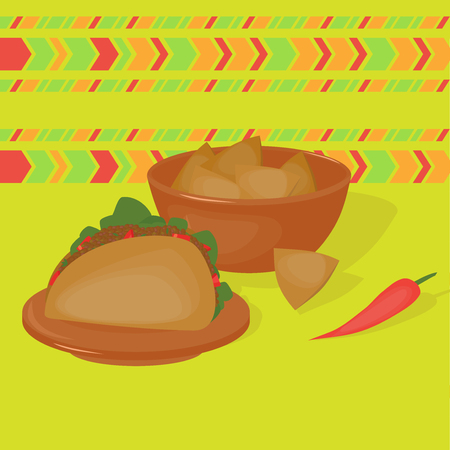 latinoamerica: Mexican traditional food set, traditional cusine of Mexico, latino fast food menu takos and nachos, restaurant meal