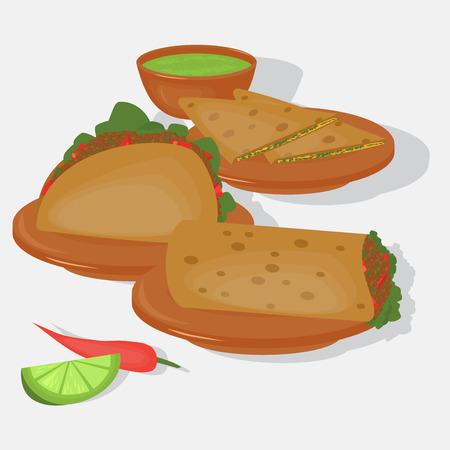 Mexican traditional food set, traditional cusine of Mexico, latino fast food menu takos, burrito, restaurant meal