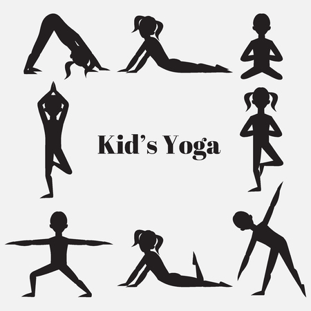 Yoga kids silhouette set. Gymnastics for children and healthy lifestyle. Yoga exercises. Yoga class, yoga center, yoga studio. Flat yoga asana