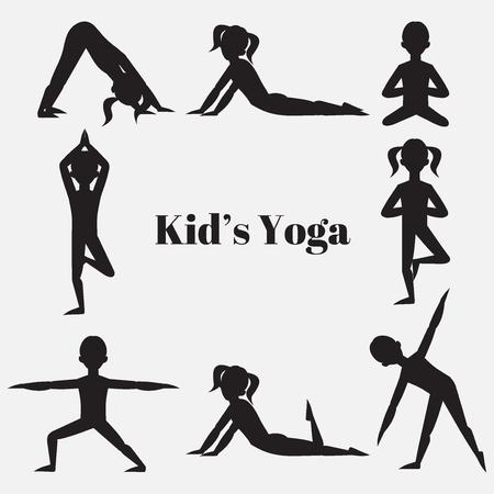 Yoga kinderen silhouet set. Gymnastiek voor kinderen en een gezonde levensstijl. Yoga-oefeningen. Yogales, yoga centrum, yoga studio. Flat yoga asana