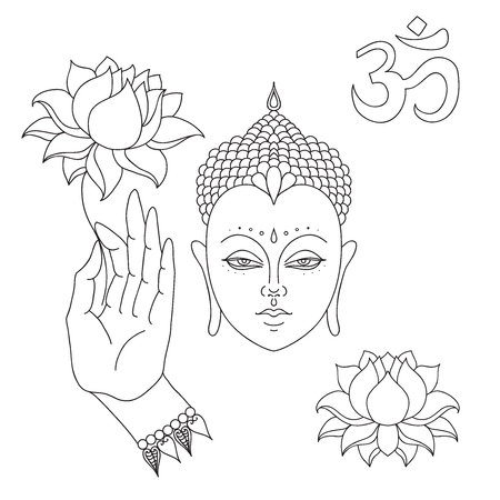 buddha head: Head of Buddha. Om sign. Hand drawn Buddha hand with lotus flower. Isolated icons of Mudra. Beautiful detailed, serene. Vintage decorative elements. Indian, Hindu motifs.