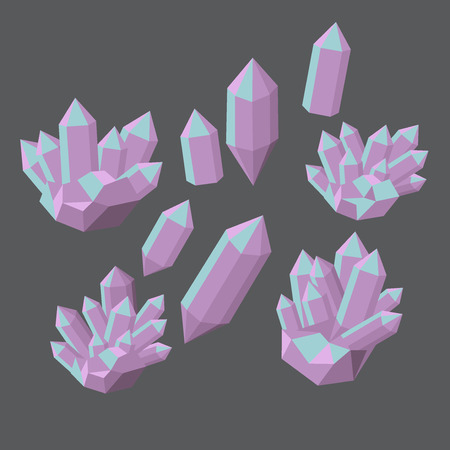 emerald stone: Colorful shiny bright crystals.  Polygon stone mineral and poly  shape rocks. Emerald crystal, ruby crystal, tourmaline crystal, quartz crystal, diamond crystal isolated. Illustration