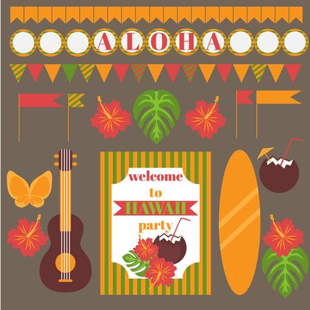 luau party: Printable set of hawaii party elements. Templates and labels, icons, flags and wraps.