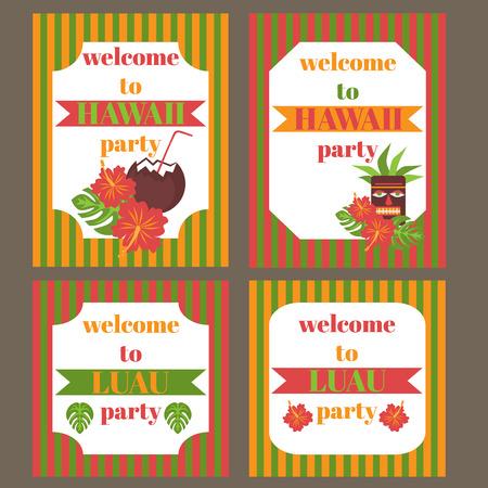 luau party: Printable set of hawaii party elements. Template Luau Invitation. Illustration