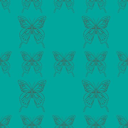 Big realistic background of colorful butterflies. Summer flying insects set for greeting cards and  scrapbook seamless pattern