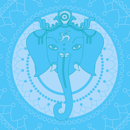 prosperidad: Tarjeta de felicitación hermosa con el elefante. elementos de diseño para cumpleaños y otro día de fiesta. El hinduismo dios Ganesha con la mandala. Línea de arte indio religión. Vectores