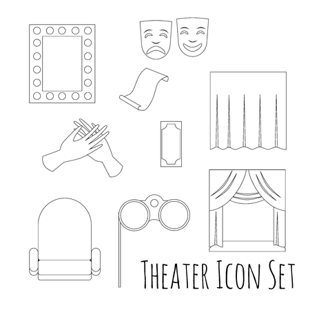theatre masks: Theatre acting performance icons set with  ticket masks flat isolated on white background.