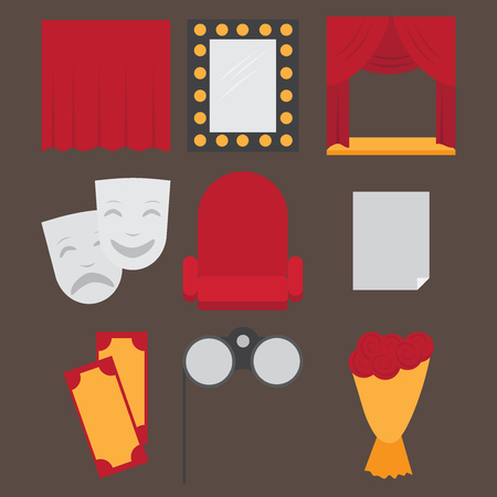 acting: Theatre acting performance icons set with  ticket masks flat isolated vector illustration. Illustration