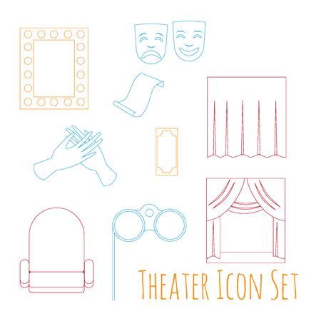 stage costume: Theater acting performance icons set with  ticket masks flat isolated illustration.