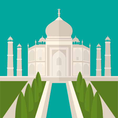 mausoleum: Taj Mahal Temple Landmark in Agra, India. Indian white marble mausoleum, indian architecture flat