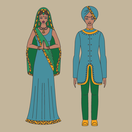 salwar: South Asia beautiful woman and man wearing indian traditional cloth, hinduism costume, sari on  background outline Illustration