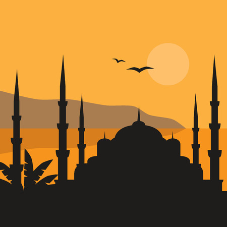 east river: The Blue Mosque, Sultanahmet Camii, Istanbul, Turkey, middle east islamic architecture flat Illustration