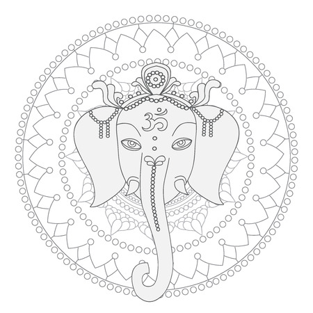 hinduism: Greeting Beautiful card with Elephant.  Design elements for birthday and other holiday.  Hinduism God Ganesha with mandala. Line art indian religion.
