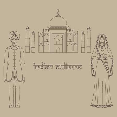 hinduism: Taj Mahal famoso templo en Agra, India. India mausoleo de m�rmol blanco, la arquitectura india y bella mujer de Asia del Sur y el hombre que lleva tela tradicional india, esquema traje hinduismo