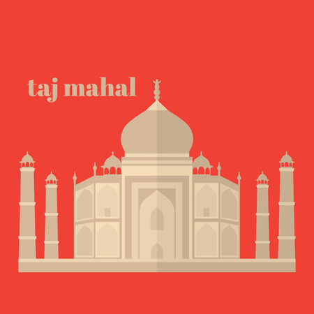 agra: Taj Mahal Temple Landmark in Agra, India. Indian white marble mausoleum, indian architecture flat