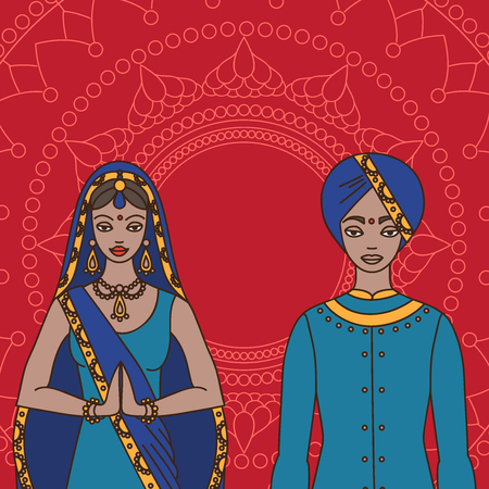 salwar: South Asia beautiful woman and man wearing indian traditional cloth, hinduism costume, sari on background outline