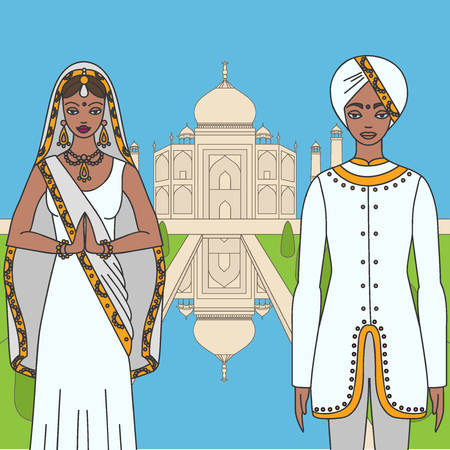 agra: Taj Mahal Temple Landmark in Agra, India. Indian white marble mausoleum, indian architecture and South Asia beautiful woman and man wearing indian traditional cloth, hinduism costume outline