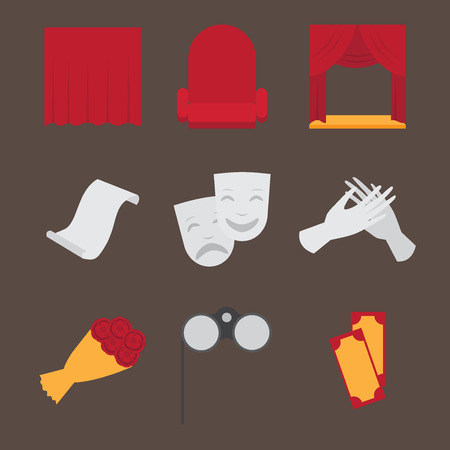 acting: Theatre acting performance icons set with  ticket masks flat isolated illustration. Illustration