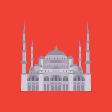 hagia sophia: The Blue Mosque, Sultanahmet Camii, Istanbul, Turkey, middle east islamic architecture flat Illustration