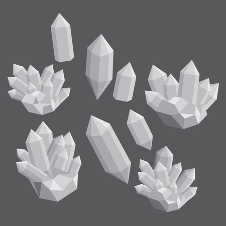 mineral stone: Colorful shiny bright crystals.  Polygon stone mineral and poly shape rocks. Illustration