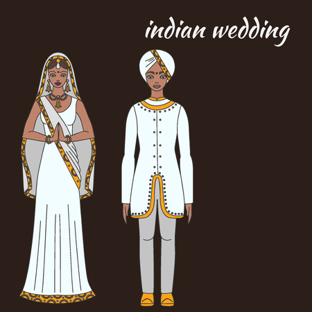 south asia: South Asia bride and groom, wedding ceremony. Indian traditional celebration, love couple, hinduism costume outline