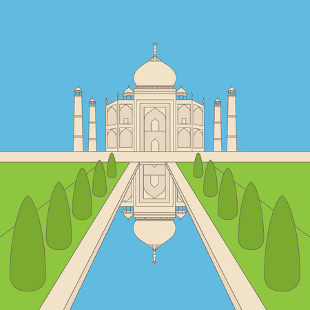agra: Taj Mahal Temple Landmark in Agra, India. Indian white marble mausoleum, indian architecture outline
