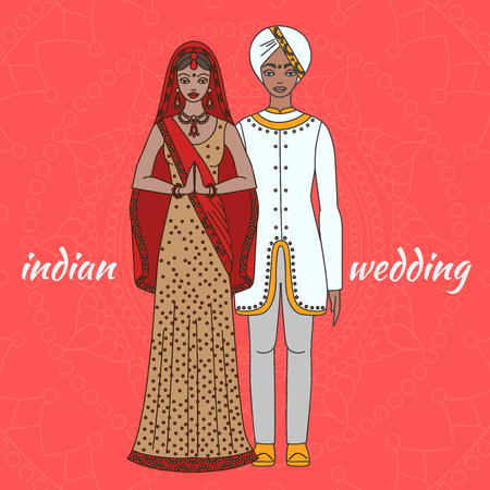 salwar: South Asia bride and groom, wedding ceremony. Indian traditional celebration, love couple, hinduism costume outline