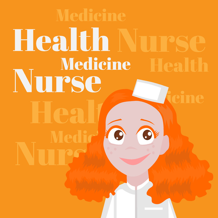 child care: Health care Profession for kids cartoon. Child Medicine Occupation, Nurse Girl, assistant of doctor Illustration