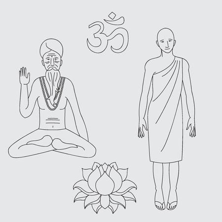 sadhu: outline yoga meditating sadhu