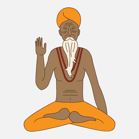 man meditating: yoga meditating sadhu, asia hinduism monk, india religious guru man character Illustration