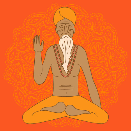 man meditating: yoga meditating sadhu, asia hinduism monk, india religious guru man character, mandala