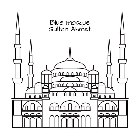 The Blue Mosque, Sultanahmet Camii, Istanbul, Turkey, middle east islamic architecture outline Illustration