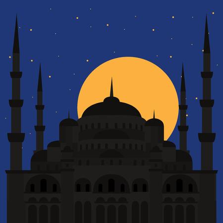 cupola: The Blue Mosque, Sultanahmet Camii, Istanbul, Turkey, middle east islamic architecture flat Illustration