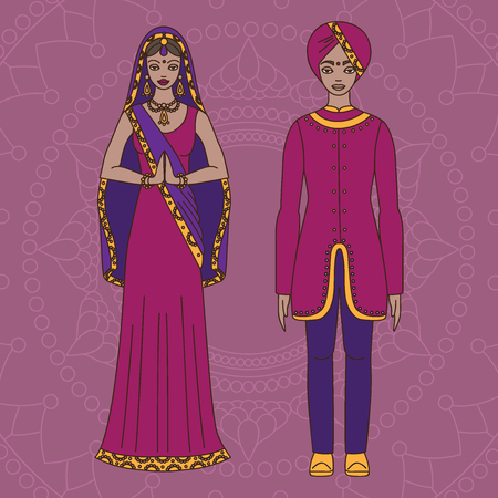 sari: South Asia beautiful woman and man wearing indian traditional cloth, hinduism costume, sari on background outline