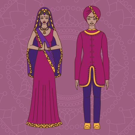 hinduism: Sur de Asia hermosa mujer y hombre que llevaba tela tradicional indio, traje hinduismo, Sari en el fondo de esquema Vectores