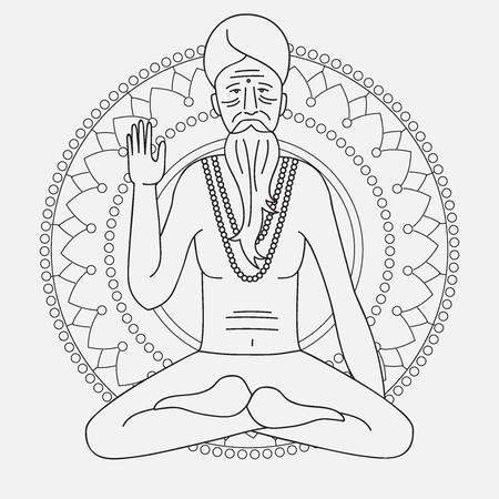 hinduism: yoga sadhu meditando, icono Asia monje hinduism, la india car�cter del hombre de gur� religioso, mandala